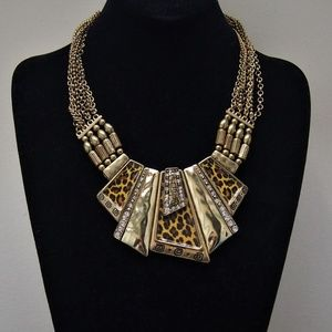 VTG Brass Animal Print Rhinestone Necklace